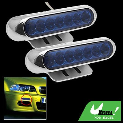 Two Super Bright Car Auto Blue 7 LED Day Light Lamp 12V (SL-635)