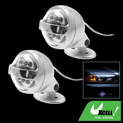 Car Auto Two Decorative 6 LED Circular Projecting Blue Light Lamp (SL-637)