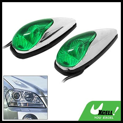 Green Crystal Mini Two Car Auto Decorative Light Lamp 12V (TS-21)
