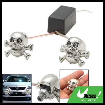 Flash Light Skull Shape Blue Red LED Car Light Lamp 12V