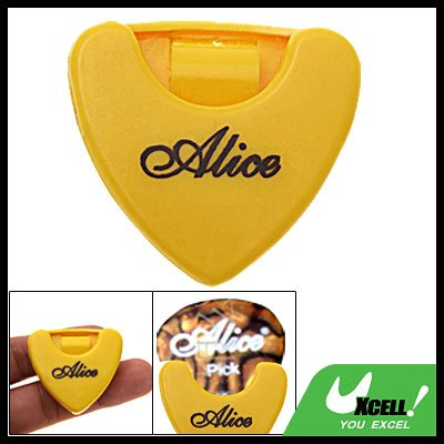 Yellow Durable Plastic Guitar Pick Holder Carrying Case