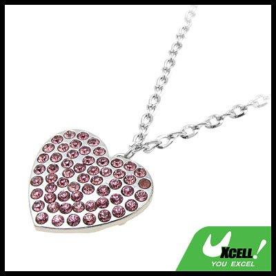 Fashion Jewelry Fuchsia Rhinestone Heart Pendant Necklace Watch