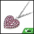 Fashion Jewelry Pink Rhinestone Heart Pendant Necklace Watch