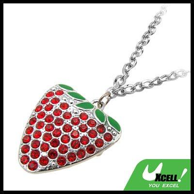 Fashion Jewelry Rhinestone Red Strawberry Pendant Necklace Watch