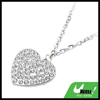 Fashion Jewelry White Heart Pendant Rhinestone Necklace Watch
