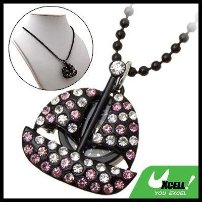 Fashion Jewelry Purple Rhinestone Sail Boat Pendant Lady's Sweater Chain Necklace Watch