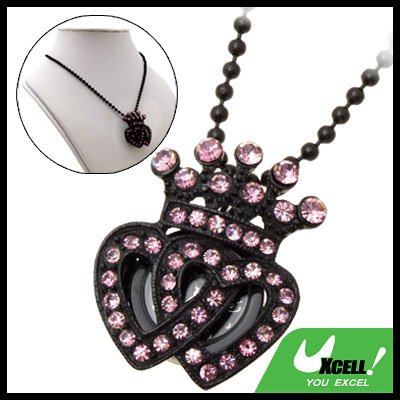 Fashion Jewelry Purple Rhinestone Crown Pendant Necklace Women's Watch