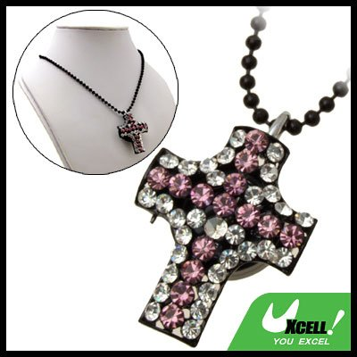 Fashion Jewelry Cross Pendant Purple Rhinestone Necklace Chain Lady's Watch