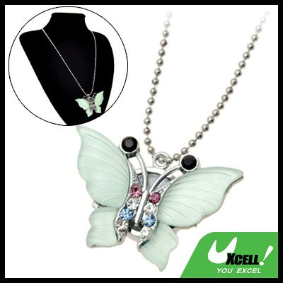 Fashion Jewelry Rhinestone Green Crystal Butterfly Pendant Sweater Chain Necklace Girl's Watch