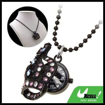 Fashion Jewelry Sweater Chain Rhinestone Crown Pendant Necklace Women's Watch
