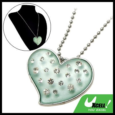 Fashion Jewelry Women's Green Crystal Heart Rhinestone Pendant Sweater Chain Necklace Watch