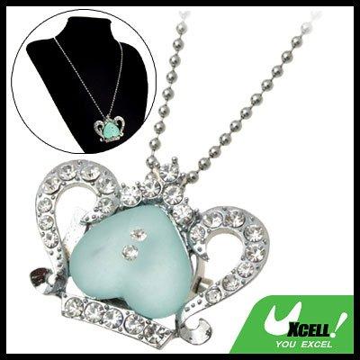 Fashion Jewelry Crown Rhinestone Green Heart Pendant Ladies' Necklace Quartz Watch