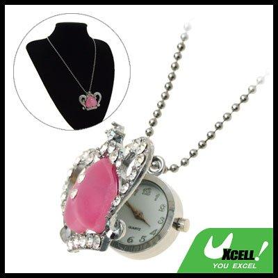 Fashion Jewelry Pink Heart Rhinestone Necklace Ladies' Quartz Watch