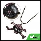 Fashion Jewelry Chain Purple Rhinestone Skeleton Skull Pendant Sweater Necklace Lady's Watch