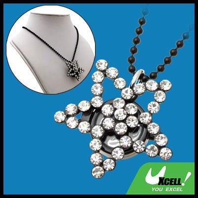 Fashion Jewelry Sweater Rhinestone White Star Pendant Necklace Lady's Watch