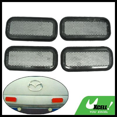 Cube Car Bumper Reflector Guard Set Sliver with Black Rim 4 Pieces (HL-6022)