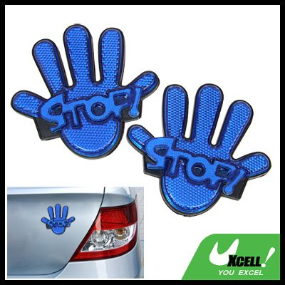 Blue Palm Pattern Stick-on Car Reflectors Warning Sign