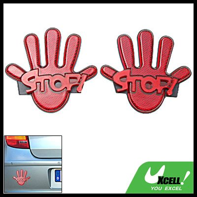 Palm Pattern Stick-on Car Reflectors Driving Safety Red