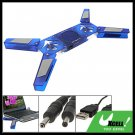 USB Notebook Laptop 2 Fans Cooling Pad w/ Speaker Blue