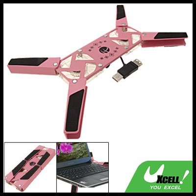 Pink Folding Notebook Laptop USB 2 Fans Cooling Pad Cooler