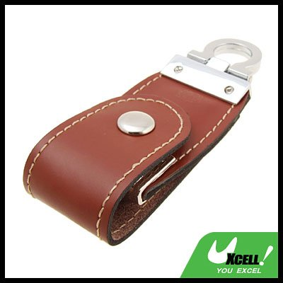 1GB Leather USB Flash Memory Stick Drive  Key Chain Ring Brown