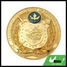 IN MEMORY OF THE DISCOVERY OF AMERICA BY COLUMBUS Car Badge Emblem Golden
