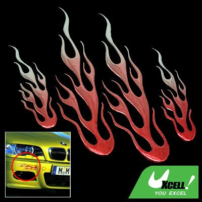 Car Red Color Flame Decoration Logo Badge Sticker (HL-8012)