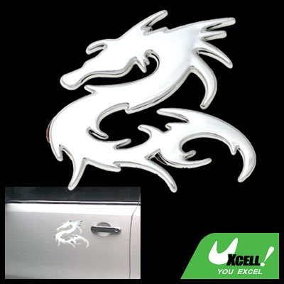 Silvery Dragon Car Decoration Logo Badge Sticker Truck