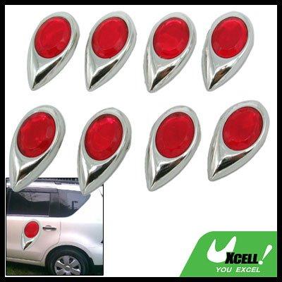 8 Pieces Red Dewdrop Shaped Car Door Bumper Mirror Guard (GZ-086)