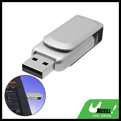 Silvery Rotating Removable USB Flash Memory Stick Drive Storage 2GB
