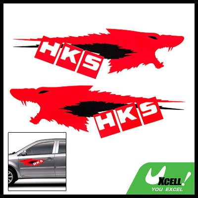 Pair Wolf Head Car Decal Graphic Stickers L34 x W12.0cm