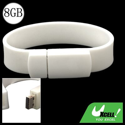 White Bracelet Wristband 8GB USB Drive Flash Memory Stick Storage