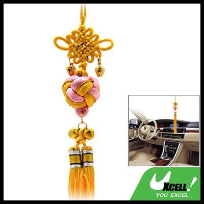Yellow Chinese Knot Tassel Oriental Ball Ornament Bells