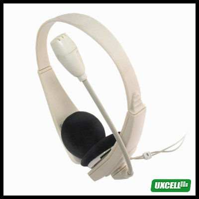 Volume - Adjustable PC Multimedia Stereo Headphone Headset with Microphone 3.5mm Plug - gray white
