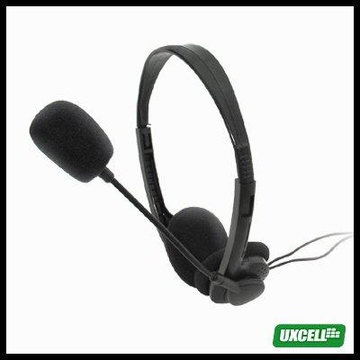 Volume - Adjustable PC Multimedia Stereo Headphone Headset with Microphone 3.5mm Plug - Black