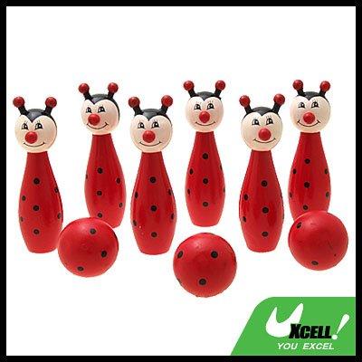 Kids Wooden Bowling Game Set Toy 6 Fox Pins 3 Balls