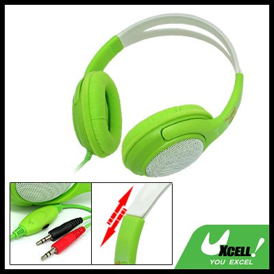 Volume Control Green PC Computer Stereo Headphone Headset with Microphone (O-5)