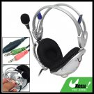 Silvery PC Computer Stereo Headphone Headset with Microphone