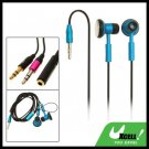 Blue Stereo Necklace Earphone 3.5mm Plug for MP3 MP4 PC