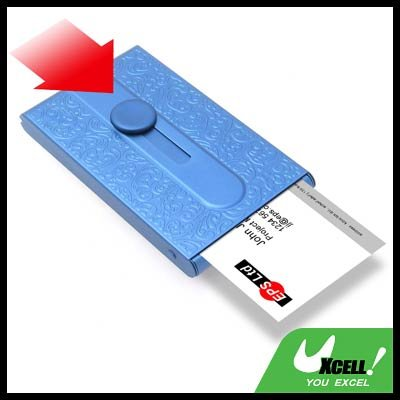 Metallic Plated COOL Automatic Sliding Business Card Case Holder -  Blue
