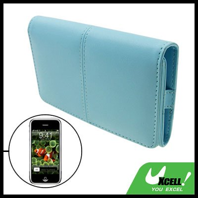 Cyan Leather Case Pouch Wallet Business Card Holder for iPod iPhone 1st Generation