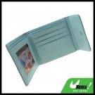 Cyan Business Credit Card Money Photo Holder Faux Leather Wallet Case