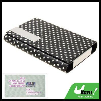 Graceful Small Silvery Pentagrams Design Black Business Card Case Holder