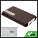 Coffee Graceful Sleek Leather Magnetic Flip Cover Business Card Case Holder