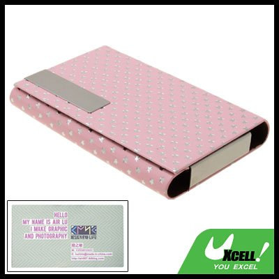 Fashion Silvery Pentagrams Design Pink Business Card Case Holder