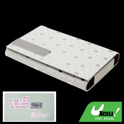 Fashionable Silvery Dots Design Magnetic Flip Cover White Business Card Case Holder