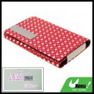 Silvery Diamond Pattern Red Leather Business Card Case Holder