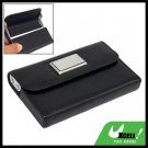 Gift Black Leather Business Credit Name ID Card Holder Case