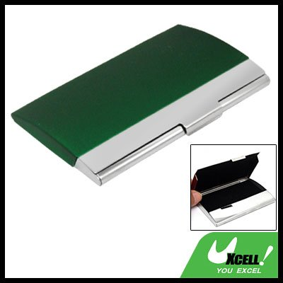 Stainless Steel Business Card Holder Case Green Silvery