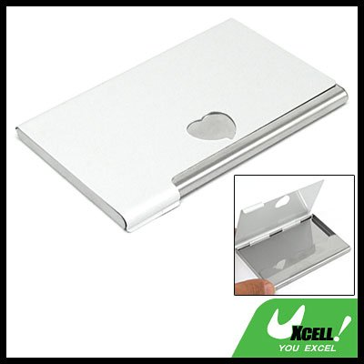 Heart Hole Aluminum Stainless Steel Business Name Card Case